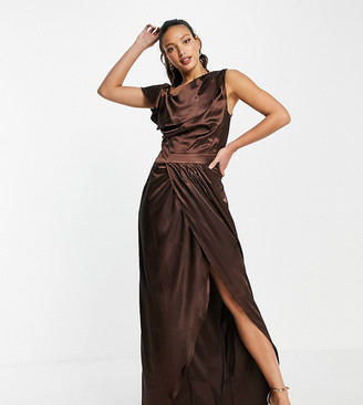 Jaded Rose Tall exclusive drape satin maxi dress with thigh split in chocolate