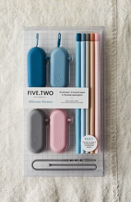 Five Two by Food52 Pack of 10 Silicone Straws & Travel Cases
