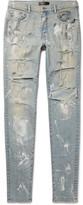 Amiri Skinny-Fit Paint-Splattered Distressed Stretch-Denim Jeans