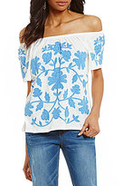 Democracy Off-the-Shoulder Short Sleeve Printed Side Ruched Top