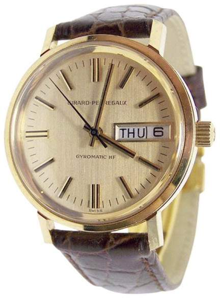 Girard Perregaux 18K Yellow Gold / Leather Vintage 34.2mm Mens Watch