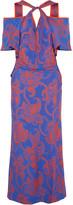 Roland Mouret Cliffon cutout printed crepe maxi dress