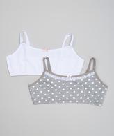 Laura Ashley White Mini Heart Bra Set - Girls