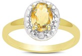.80 Carat TW Oval-cut Citrine and Diamond Accent Ring Gold Plated (IJ-I2-I3) (November)