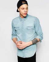 Pull&bear Western Denim Shirt In Light Blue In Regular Fit
