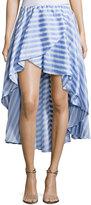 Caroline Constas Adelle Striped Cotton Ruffle Skirt, Blue/White