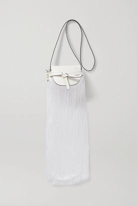 Loewe Gate Mini Fringed Leather And Silk Shoulder Bag - White