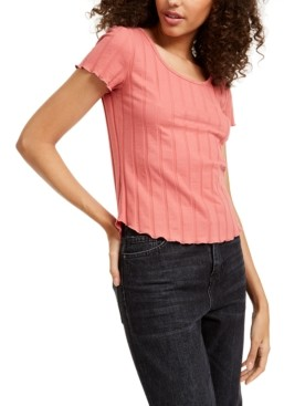 PINK ROSE Juniors' Rib-Knit Lettuce-Edged T-Shirt