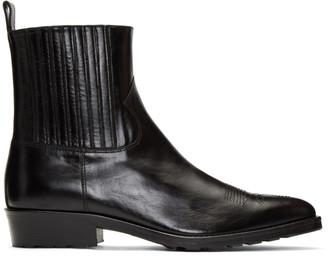 Toga Virilis Black Hard Leather Chelsea Boots