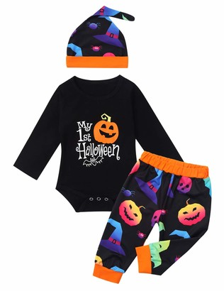 TiaoBug Baby Infant My First Halloween Outfits Long Sleeves Pumpkin Printed Romper with Trousers Hat Clothing Set Black 6-9 Months