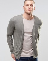 Asos Cardigan In Grey Cotton