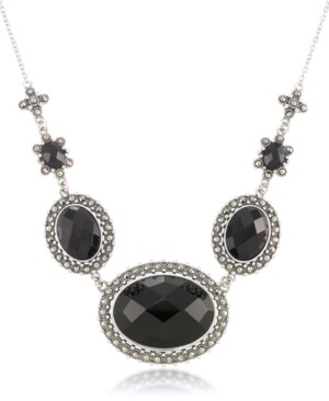 """Macy's Marcasite and Faceted Onyx Oval Frontal 16""""+2"""" Extender Necklace in Sterling Silver"""