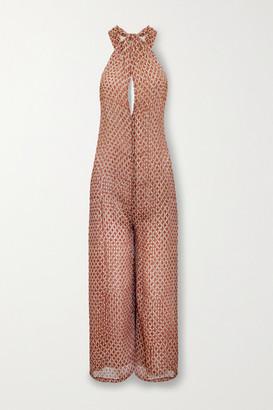 CLOE CASSANDRO + Net Sustain Ruby Layered Printed Silk Halterneck Jumpsuit - Brick