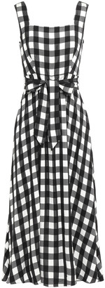 Temperley London Stirling Belted Gingham Jacquard Midi Dress