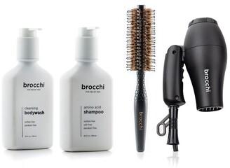 Sebastian Brocchi Brocchi Travel Hair Dryer, Styling Brush, Amino Acid Shampoo & Cleansing Body Wash Bundle