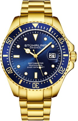 Stuhrling Original Men's Aquadiver Blue Dial Goldtone Dive Watch