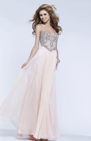 Faviana Embellished Chiffon Illusion Long Evening Gown S7376