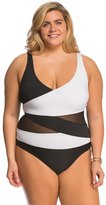 Anne Cole Plus Size Mesh OTS Splice One Piece Swimsuit 8137519