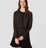 LOFT Tipped Speckled Shirred Henley Top