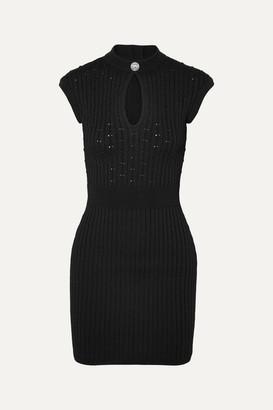 Balmain Button-embellished Ribbed Pointelle-knit Mini Dress - Black