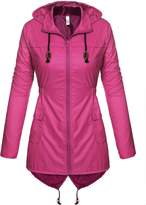 Meaneor Women's Fishtail Waterproof Raincoat Dot Cute Outdoor Hooded Rain Jacket Rose Red XL