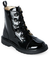 Naturino Girls) Black Patent Brogue Lace-Up Boots