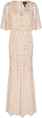 Adrianna Papell Beaded Covered Blouson Gown