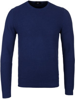 Boss Banty Royal Blue Ribbed Pattern Sweater