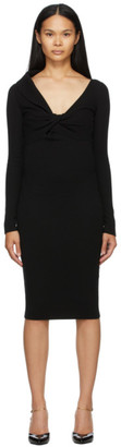Alexander McQueen Black Wool Twisted V-Neck Dress