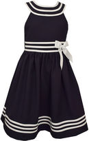 Bonnie Jean Navy U-Neck Sailor Dress w/ Banded Waist and Hem Plus - Big Kid