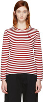 Comme des Garcons Red Long Sleeve Striped Heart Patch T-shirt