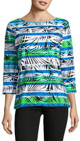 Ruby Rd Allover Palm Print Long Sleeve Top