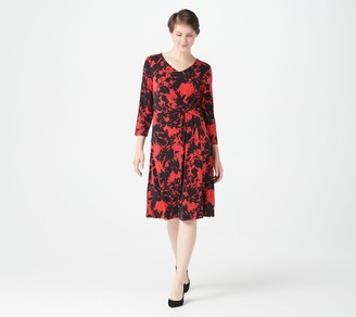 Susan Graver Printed Liquid Knit 3/4-Sleeve Twist Dress