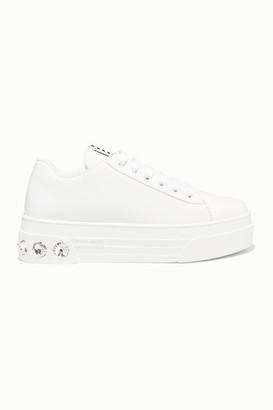 Miu Miu Crystal-embellished Patent-leather Platform Sneakers - White