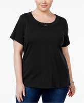 Karen Scott Plus Size Buckle-Trim Scoop-Neck Top, Created for Macy's