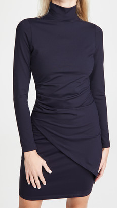 Susana Monaco Mock Neck Overlap Gathered Dress
