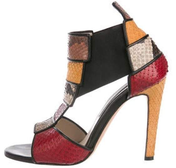 Chrissie Morris Snakeskin Cage Sandals Red Snakeskin Cage Sandals