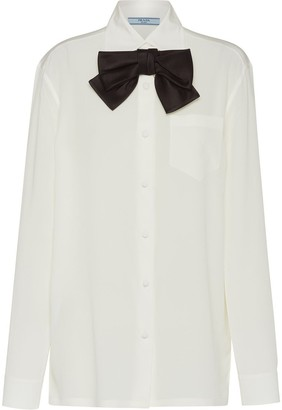 Prada Bow-Detail Buttoned Blouse