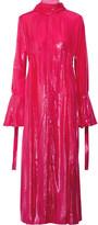 Ellery Valour Pussy-bow Metallic Velvet Midi Dress - Fuchsia