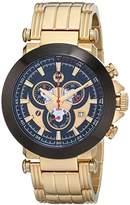 Brillier Men's 11-01 BK Analog Display Swiss Quartz Gold Watch