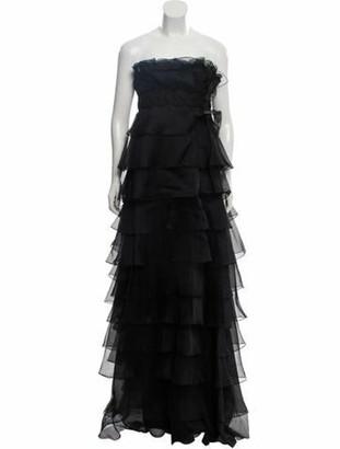Marchesa Silk Embellished Evening Dress Black