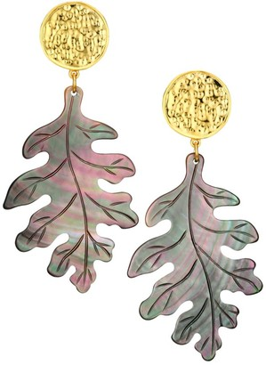 Nest Grey Mother-Of-Pearl Carved Leaf Earrings
