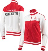 G Iii Women's G-III 4Her by Carl Banks White/Red Houston Rockets Tip Off Rhinestone Tricot Full-Zip Track Jacket
