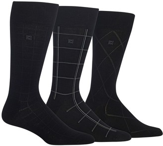 Chaps Men's Dashed Windowpane Dress Crew Socks 3-Pair