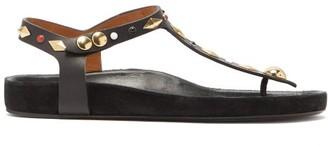 Isabel Marant Enore Studded Flat Leather Sandals - Black