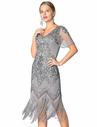 Metme Women's Roaring 1920s Gatsby Dresses Short Sleeve Retro Cocktail Flapper Dress