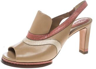 Chloé Multicolor Leather Slingback Mules Sandals Size 40