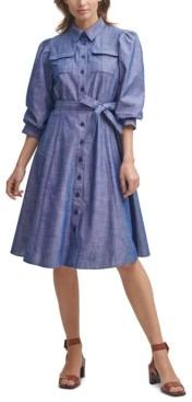 Calvin Klein Cotton Chambray Midi Shirtdress