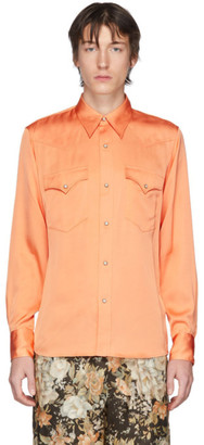 Dries Van Noten Orange Satin Shirt