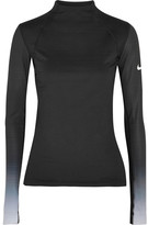 Nike Pro Hyperwarm Mesh-paneled Cotton-blend Jersey Top